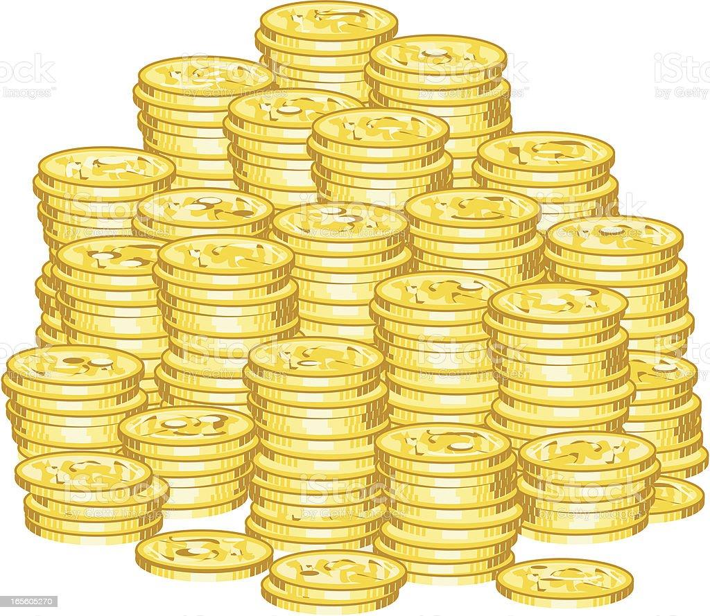 Money pile vector art illustration