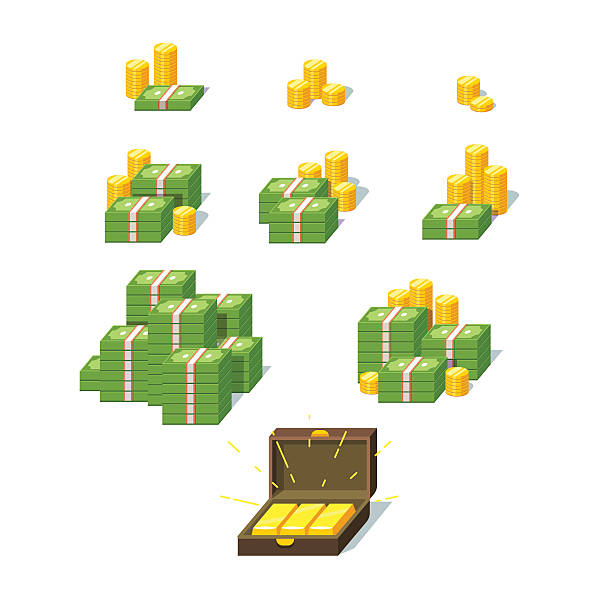 Money piles set Money piles set. Collection of stacked pile of green dollars cash, gold coins and gold bars in suitcase. Flat style vector illustration. stack stock illustrations