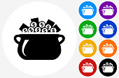 Money Pot Icon on Flat Color Circle Buttons. This 100% royalty free vector illustration features the main icon pictured in black inside a white circle. The alternative color options in blue, green, yellow, red, purple, indigo, orange and black are on the right of the icon and are arranged in two vertical columns.