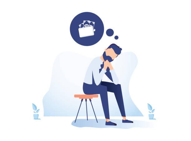 ilustrações, clipart, desenhos animados e ícones de dinheiro problema financeiro problemas ilustração plana. homem de negócios deprimido no personagem de banda desenhada da necessidade. crise econômica - business man