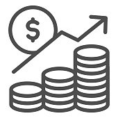 istock Money profit analytics line icon. Growth chart arrow, coins and dollar symbol, outline style pictogram on white background. Business sign for mobile concept and web design. Vector graphics. 1213552706