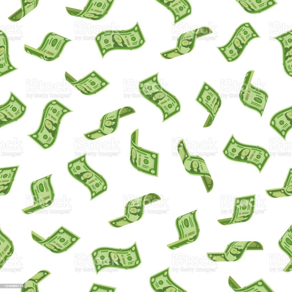 Lluvia de dinero. Cayendo las denominaciones dólares, llover billetes de dinero o dólar billete de vuelo. Fondo de vector transparente de abundancia de riqueza - ilustración de arte vectorial