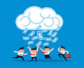 Money rain in the clouds