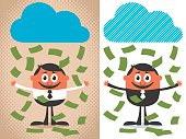Money raining over cartoon character. The illustration is in 2 versions.