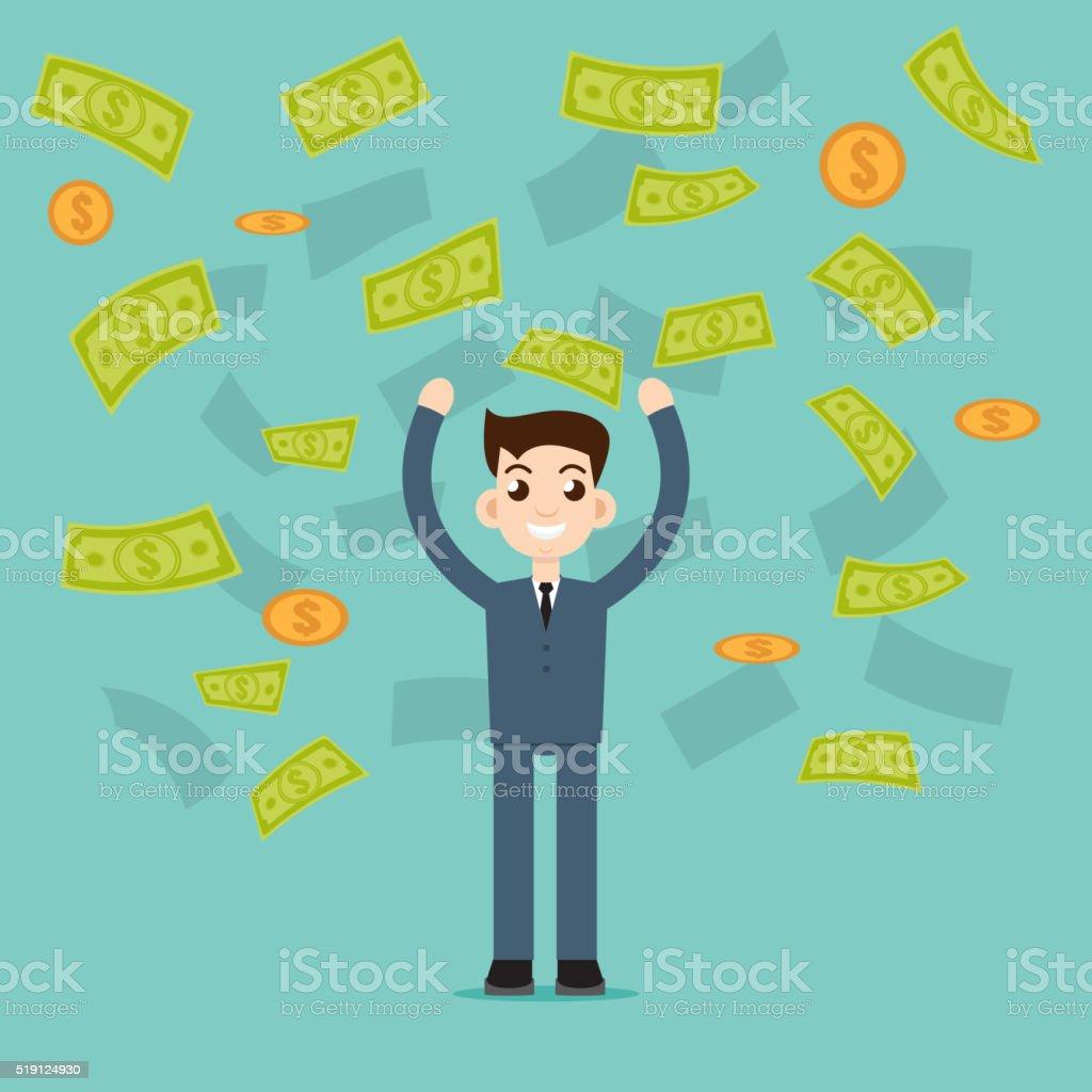 Money rain vector art illustration