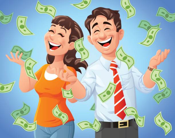 Money Rain Money raining down on a happy man and woman. Vector illustration. Concept for luck, wealth, richness and financial success. millionnaire stock illustrations