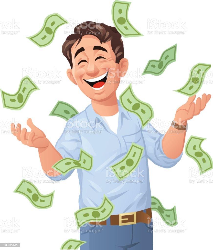 Money Raining Down On Man Stock Vector Art More Images Of