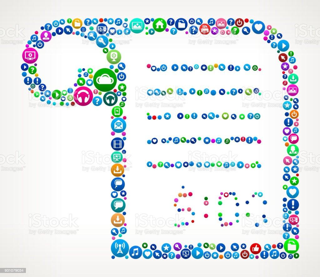 Money Reciet Internet Communication Technology Icon Pattern vector art illustration