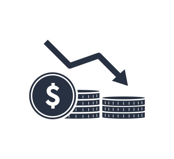 Geldreduktionsliniensymbol. Stapel von Münzen, Bargeld, Graph, Pfeil nach unten. Anlagekonzept. Vektor-Illustration – Vektorgrafik