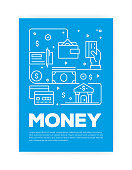 Money Related Line Style Cover Design for Annual Report, Flyer, Brochure.