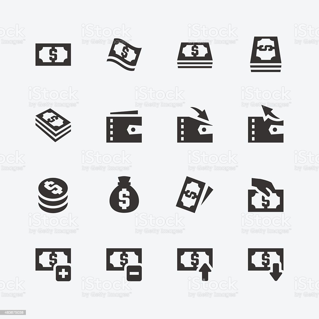 Money related vector icons set vector art illustration