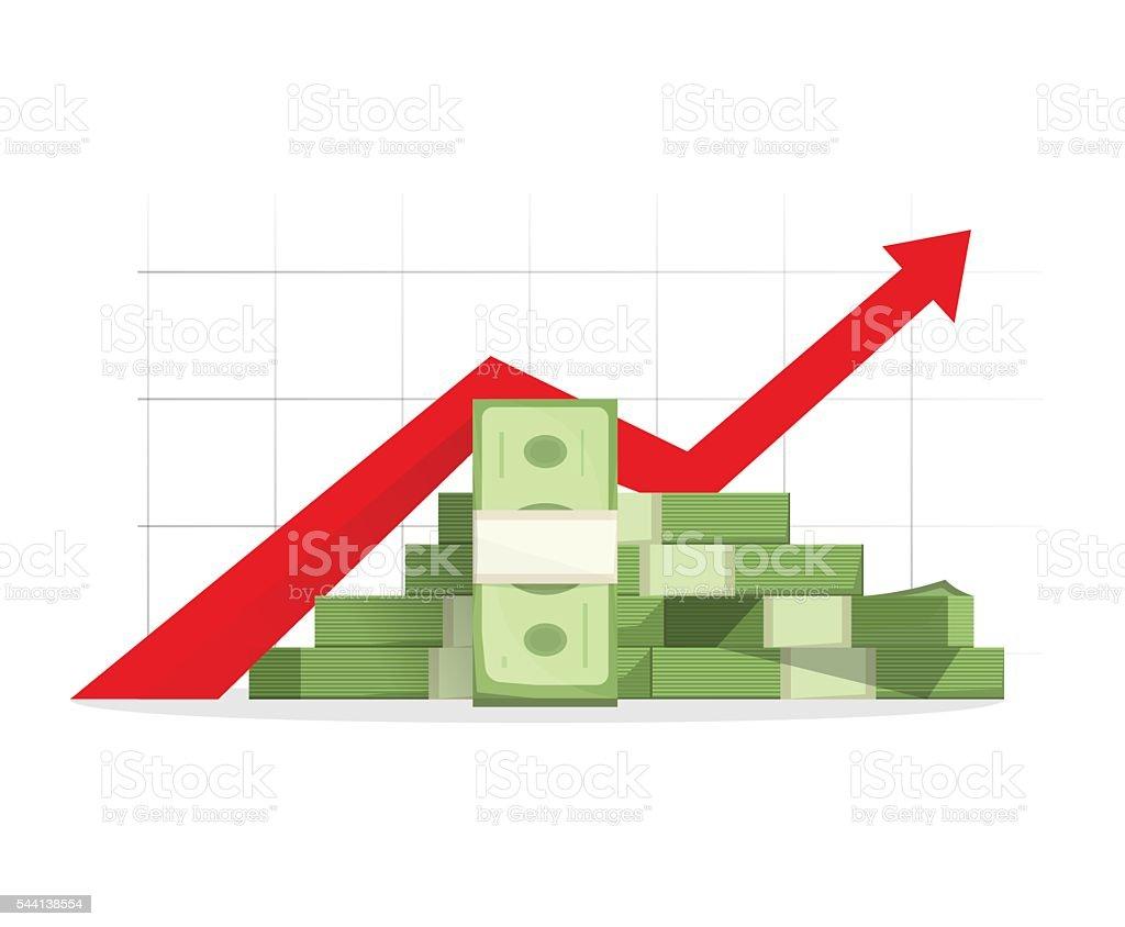 Money rising up graph arrow, budget growth, financial profit cash vector art illustration