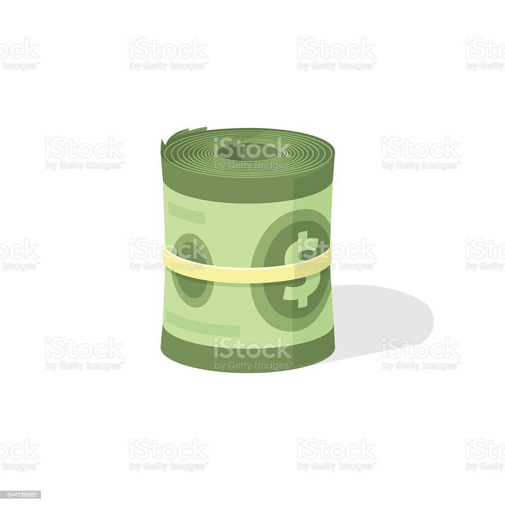 Money roll 3d vector icon, bankroll dollar bill rolled vector art illustration