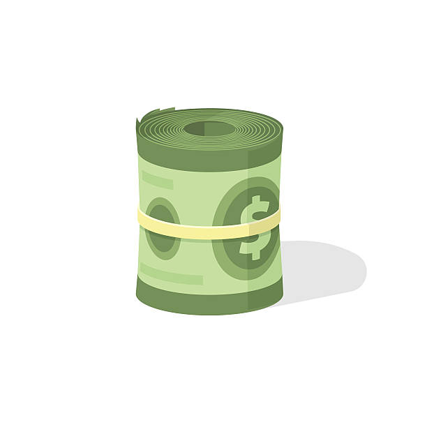 Money roll 3d vector icon, bankroll dollar bill rolled Money roll 3d vector icon, bankroll dollar bill rolled flat illustration isolated on white background bundle stock illustrations