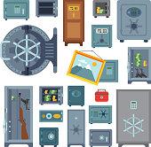 Money safe steel vault door finance business concept safety business box cash secure protection deposit vector illustration. Metal storage lock currency banking treasure.
