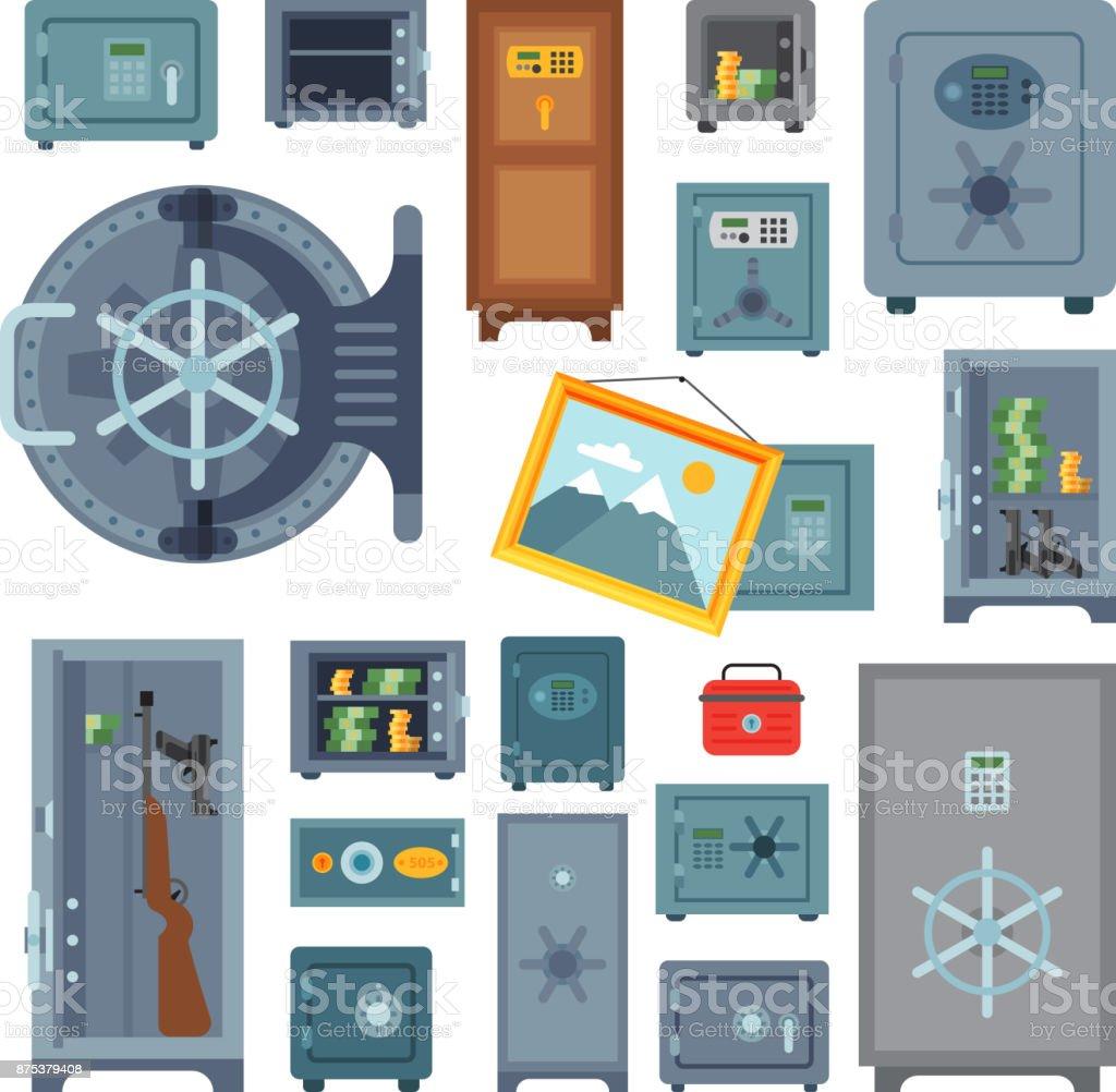 Money safe steel vault door finance business concept safety business box cash secure protection deposit vector illustration vector art illustration