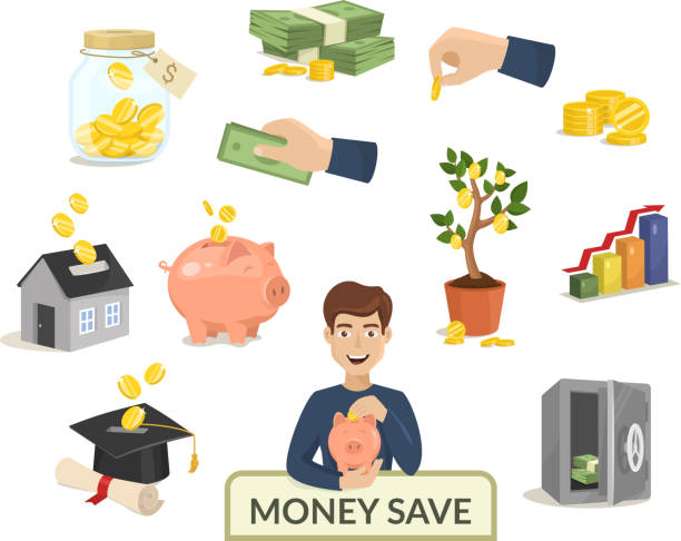 Money save concept money icons for finance banking payment vector illustration vector art illustration