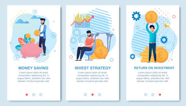 Geld sparen und Investitionen Social Media Flat Set – Vektorgrafik
