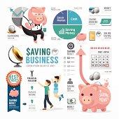 Money Saving Business Template Design Infographic . Concept