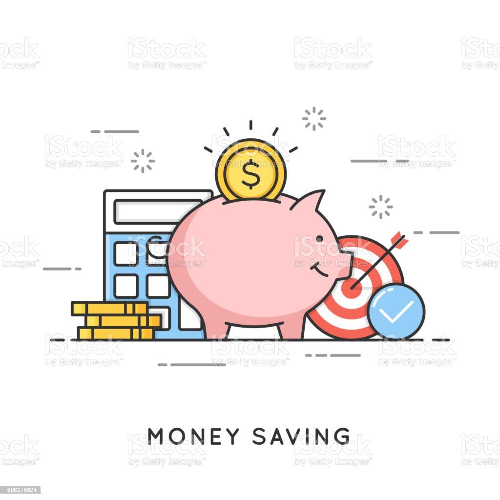 Geld sparen, Kaution Investitionen, Budgetverwaltung, Wirtschaft. Flache Linie Kunst-Style-Konzept. Vektor-Banner, Icon, Illustration editierbare Schlaganfall – Vektorgrafik