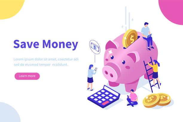 ilustrações de stock, clip art, desenhos animados e ícones de money saving - save money