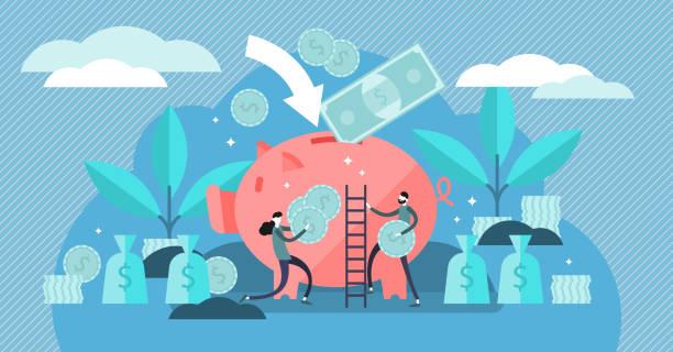 ilustrações de stock, clip art, desenhos animados e ícones de money saving vector illustration. flat tiny persons concept with piggy bank - save money