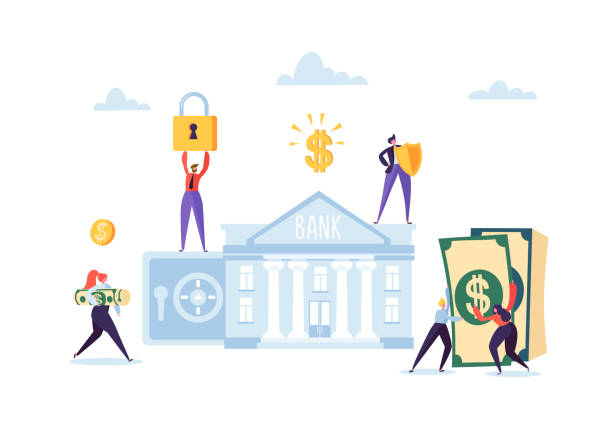 money savings concept. business people characters investing money on bank account. safe deposit, banking, earnings, investments. vector illustration - bank stock illustrations