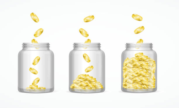 Money Savings Concept. Vector Money Savings Concept with Gold Coins and Glass Jar Set. Vector illustration jar stock illustrations