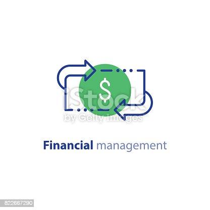 istock Money savings, investment plan, stock market, finance services, line icon 822667290