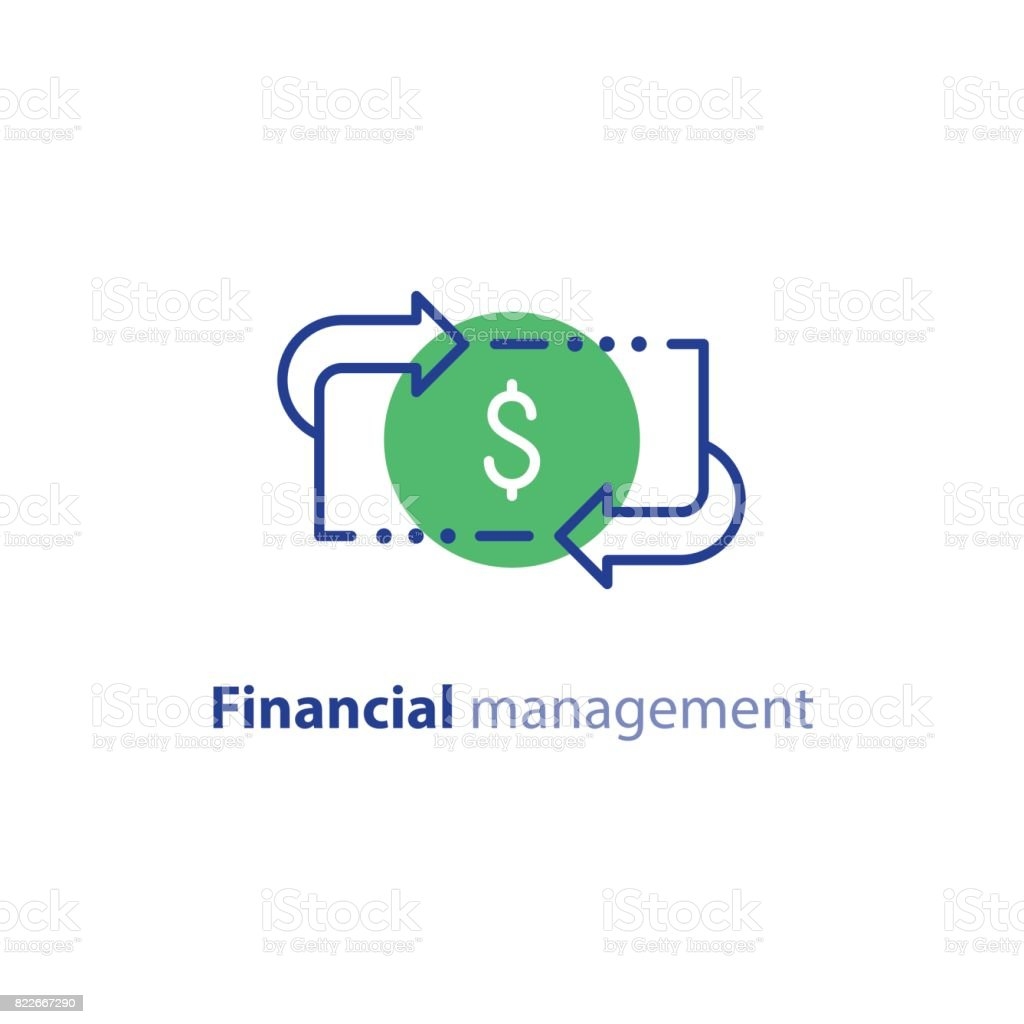 Money savings, investment plan, stock market, finance services, line icon vector art illustration