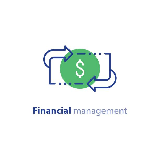 Money savings, investment plan, stock market, finance services, line icon Financial services, cash back concept, money refund, return on investment, savings account, currency exchange, vector line icon refund stock illustrations