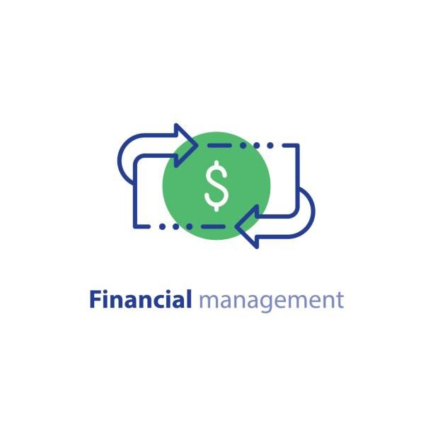 Money savings, investment plan, stock market, finance services, line icon vector art illustration