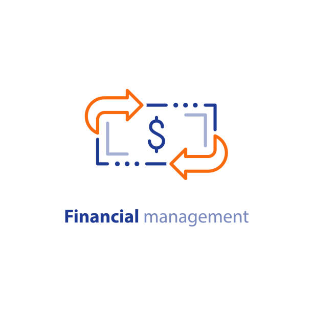 Money savings, investment plan, stock market, finance services, line icon Financial services, cash back concept, money refund, return on investment, savings account, currency exchange, vector line icon safety deposit box stock illustrations