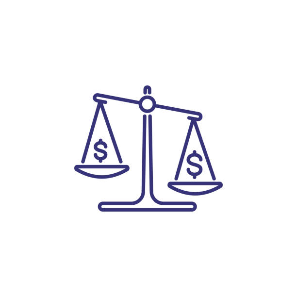 Money scale line icon Money scale line icon. Dollar, balance, budget. Finance concept. Can be used for topics like accounting, economy, business budget silhouettes stock illustrations