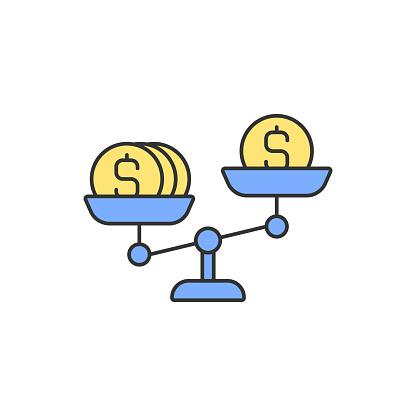 Money scales RGB color icon