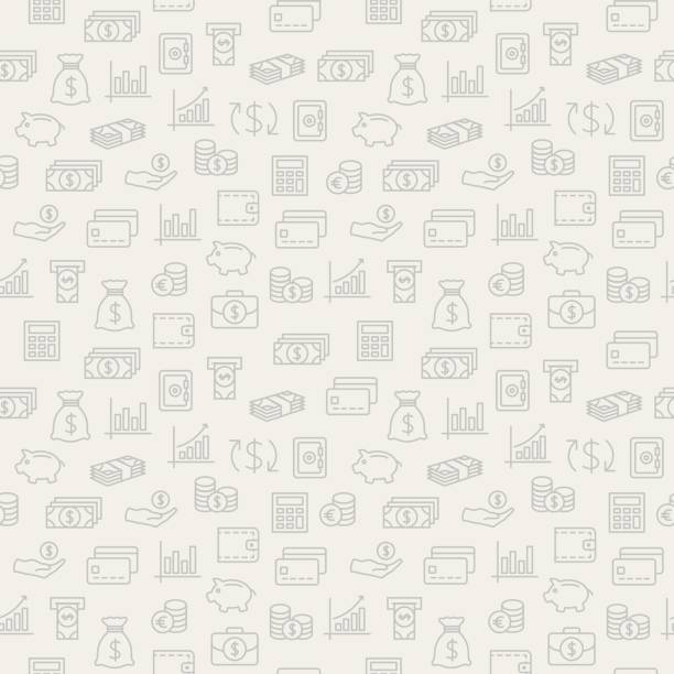 Money seamless pattern. Background with icons. Money seamless pattern. Background for your design. budget designs stock illustrations