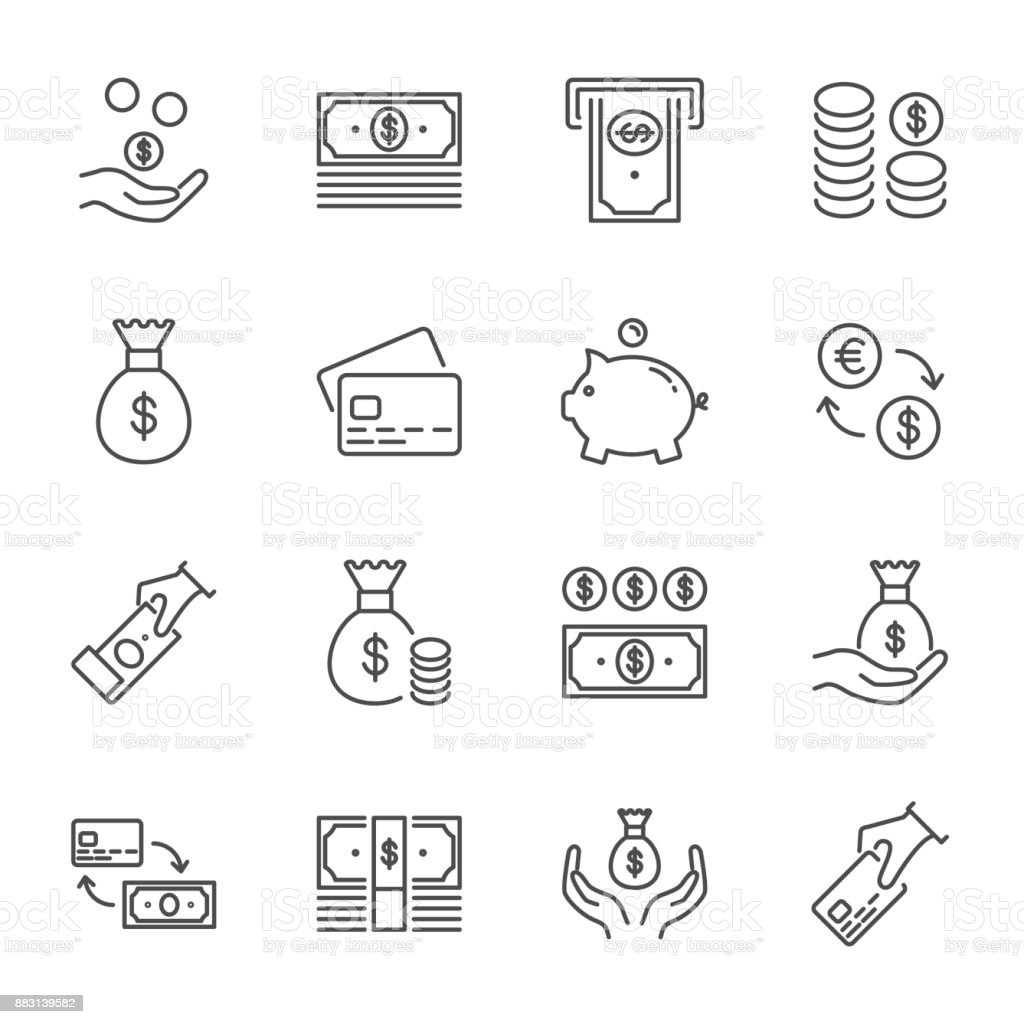 Money set of vector icons, line style vector art illustration