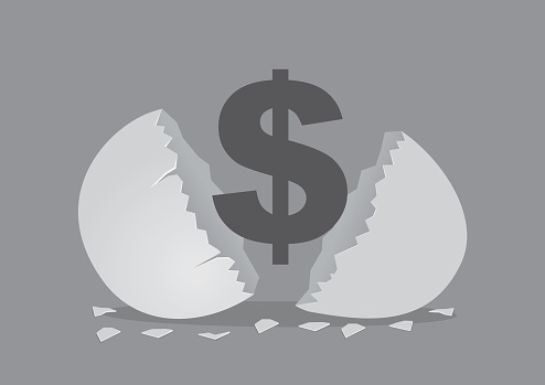 Money Sign From Opened Egg Shell Creative Cartoon Vector