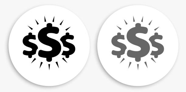 Money Signs Black and White Round Icon vector art illustration