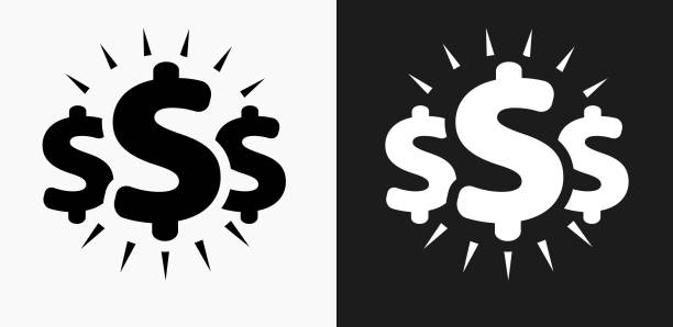 Money Signs Icon on Black and White Vector Backgrounds vector art illustration