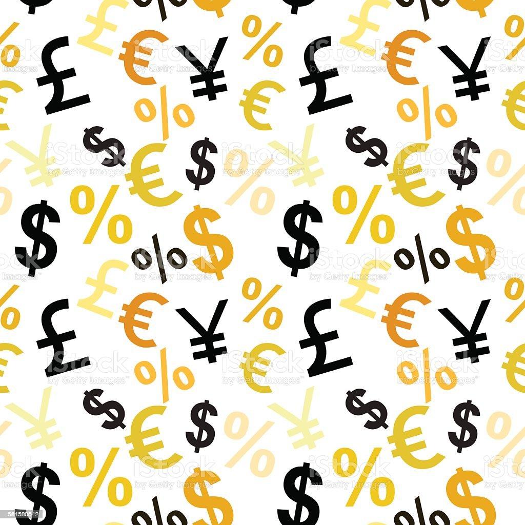 Money signs seamless pattern. vector art illustration