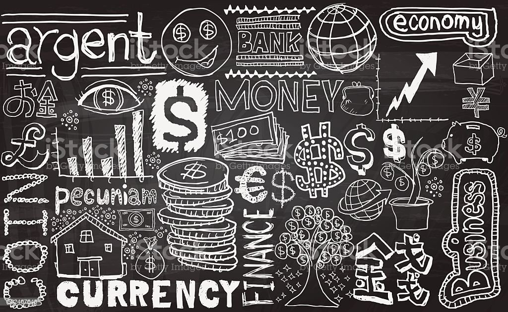 Money sketch drawing collection vector art illustration