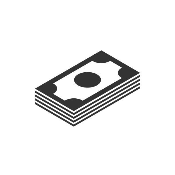 白色背景上的錢堆黑色圖示向量藝術插圖