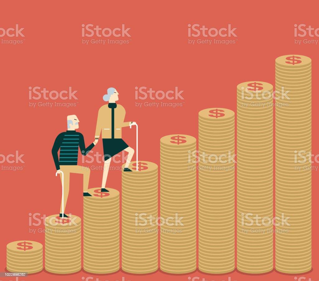 お金の手順 - シニア カップル - コインします。 ベクターアートイラスト