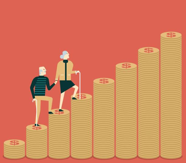 ilustrações, clipart, desenhos animados e ícones de etapas de dinheiro - casal senior - moeda - aposentadoria