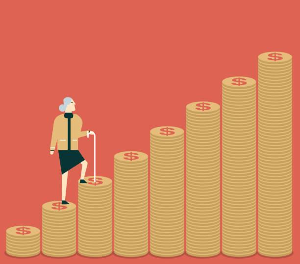 bildbanksillustrationer, clip art samt tecknat material och ikoner med pengar steg - senior kvinnor - aktiva pensionärer utflykt