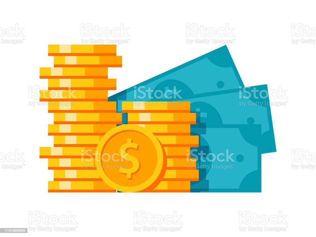 Money stylish illustration Money stylish modern illustration with coins and banknotes Bank - Financial Building stock vector
