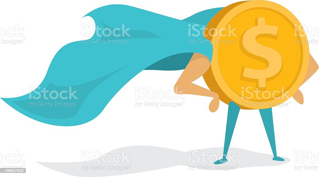 Money super hero or heroic gold coin standing with cape vector art illustration