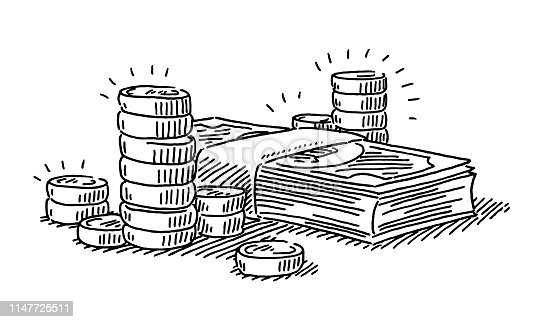 Hand-drawn vector drawing of a Money Symbol with Coins And Banknotes. Black-and-White sketch on a transparent background (.eps-file). Included files are EPS (v10) and Hi-Res JPG.