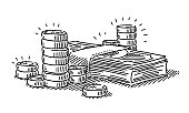 Money Symbol Coins And Banknotes Drawing